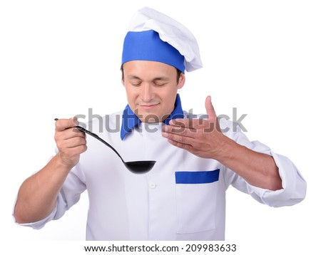 Chef cook with ladle isolated on white background - stock photo