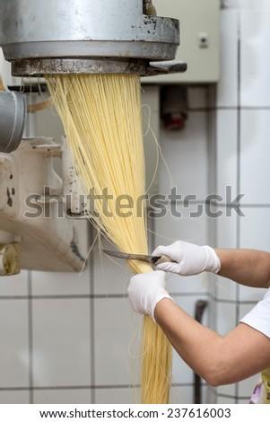 Chef cutting raw filini pasta  - stock photo