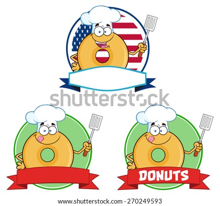 Chef Donut Cartoon Characters Circle Labels. Raster Collection Set Isolated On White - stock photo
