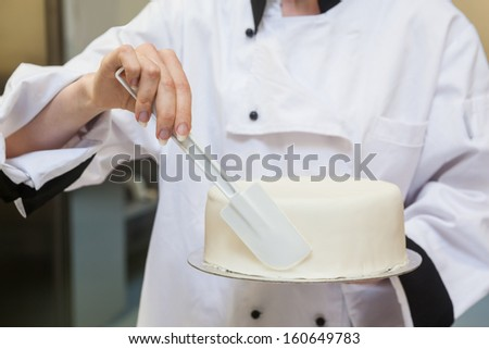 Chef finishing a cake with icing in professional kitchen - stock photo