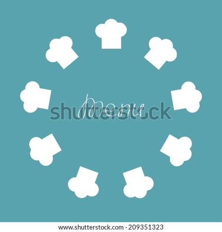 Chef hat round frame. Menu card. Flat design.  - stock photo