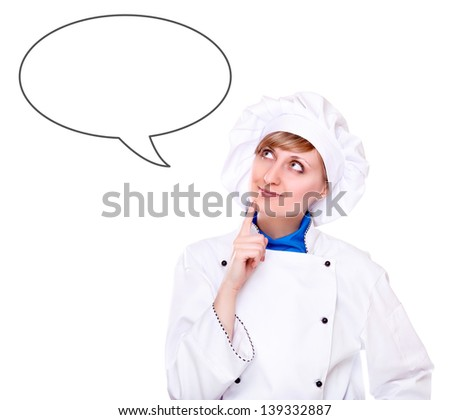 Chef  looking to the thinking bubble isolated on white - stock photo