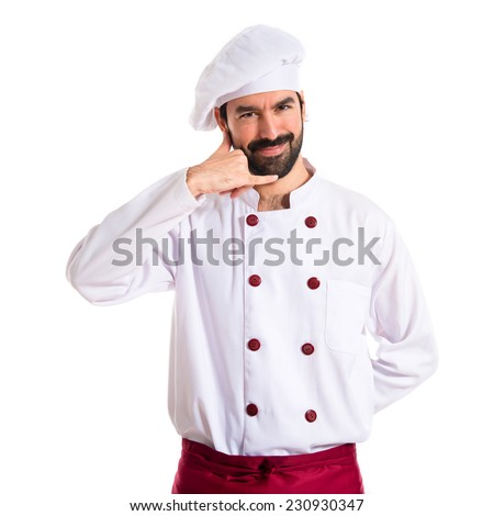 Chef making phone over white background - stock photo