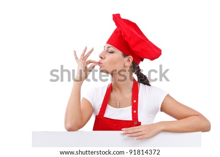 Chef making tip with her hand in front of mouth to symbolize deliciousness - stock photo