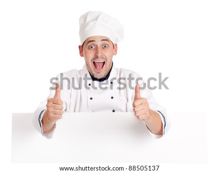 Chef man. Isolated over white. - stock photo
