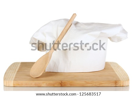 Chef's hat with spoon isolated on white - stock photo