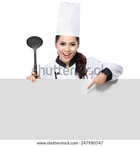 Chef showing blank sign. Woman chef, baker or cook smiling happy holding blank white paper sign isolated on white background - stock photo