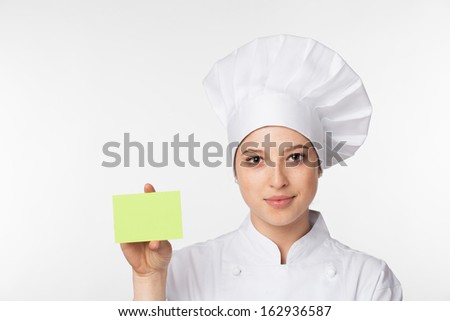 Chef showing sign card - stock photo