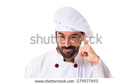 Chef thinking over white background - stock photo