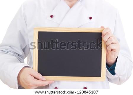 Chef with blackboard - stock photo