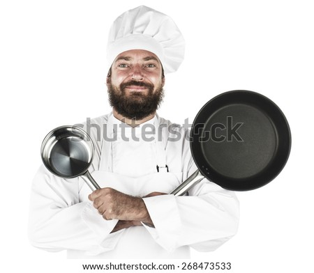Chef with pans - stock photo