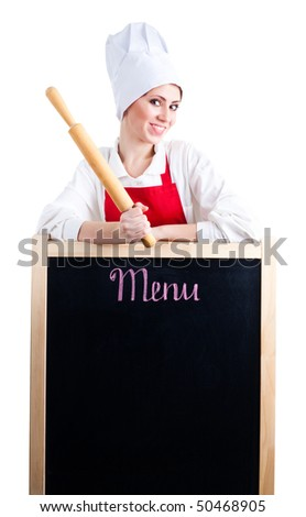 Chef with rolling pin show menu on blackboard - stock photo
