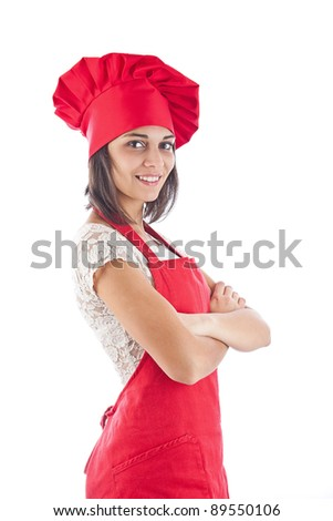 Chef woman whit arm crossed. Isolated over white background. - stock photo