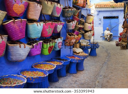 CHEFCHAOUEN, MOROCCO, OCTOBER 24 2015: Street life in the Blue city of Chefchaouen, one of the touristi destinations of Morocco, Africa  - stock photo