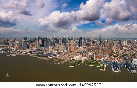 Chelsea and Greenwich Village Helicopter view at summer sunset - New York City. - stock photo