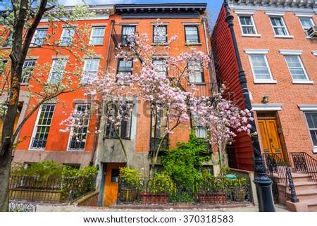 Chelsea neighborhood of New York City in the Spring. - stock photo