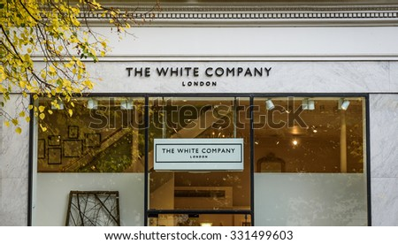 Cheltenham, Gloucestershire, England - October 20th, 2015: White Company shop frontage opposite the municipal offices - stock photo