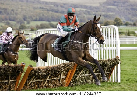 CHELTENHAM, GLOUCS, OCT 20 2012, Daryl Jacobs takes Brass Tax over hurdles at the first race at Cheltenham Racecourse, cheltenham uk Oct 20 2012 - stock photo