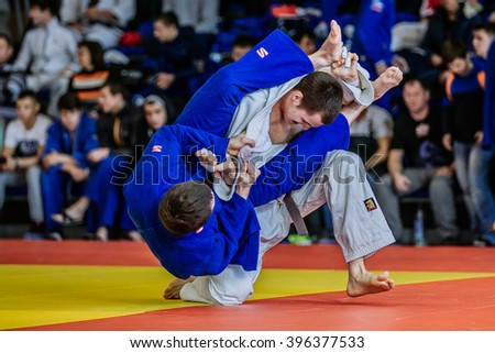 Chelyabinsk, Russia -  March 19, 2016: fighters judoists fight in time to compete Russian competition on judo - stock photo