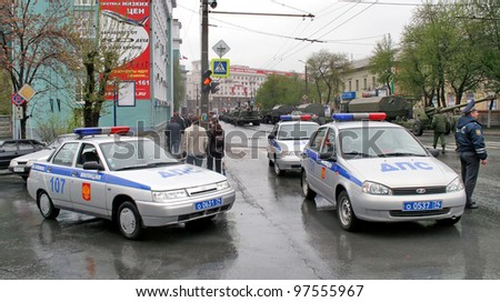 CHELYABINSK, RUSSIA - MAY 9: Police cars exhibited at the annual Victory Parade on May 9, 2008 in Chelyabinsk, Russia. - stock photo