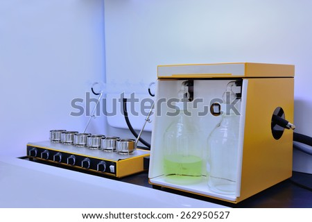 Chemical analysis, Laboratory equipment.  - stock photo