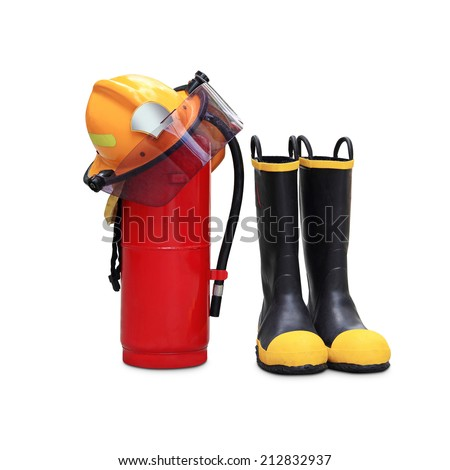 chemical fire extinguisher, helmet and shoes safety through the use of firefighters in thailand isolated on white background  - stock photo