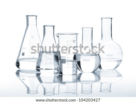 Chemical flask with a blue laboratory test tubes inside, isolated - stock photo