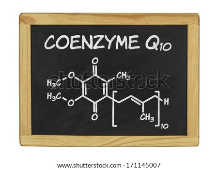 chemical formula of coenzyme q10  - stock photo
