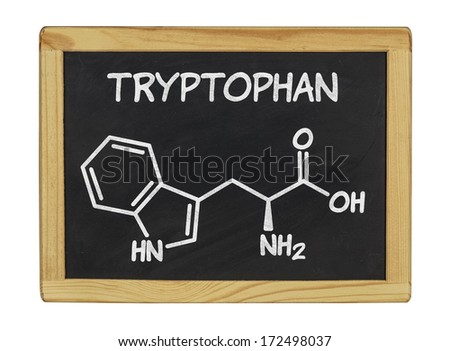 chemical formula of tryptophan on a blackboard - stock photo