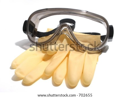 Chemical Goggles and Gloves - stock photo