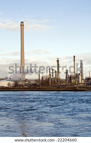 Chemical Industrial Plant at the water side - stock photo