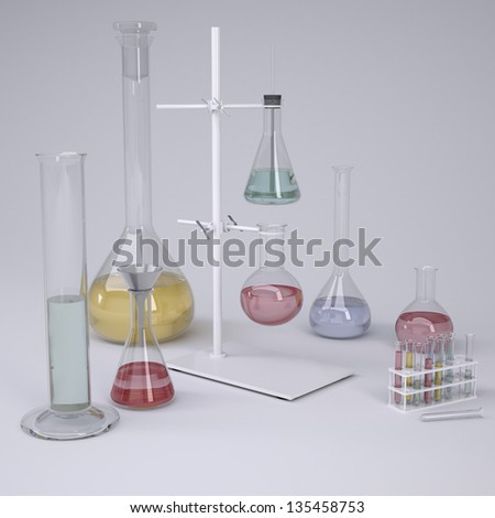 Chemical laboratory. Isolated render on a gray background - stock photo