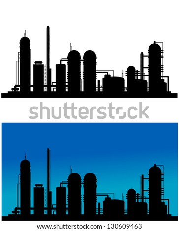 Chemical or refinery plant silhouette for industrial design. Vector version also available in gallery - stock photo