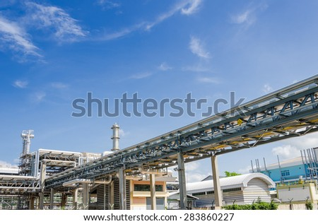 Chemical pipelines in Petrochemical industrial - stock photo