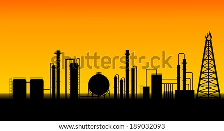 Chemical plant and oil refinery illustration - stock photo