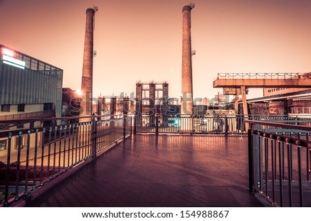 Chemical plant at twilight - stock photo