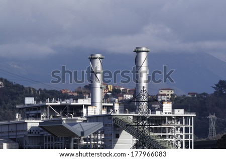 chemical plant located in la spezia in a beautiful day - stock photo