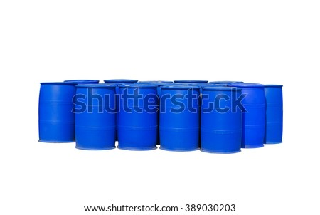 Chemical Plant, Plastic Storage Drums, Blue Barrels white background. - stock photo