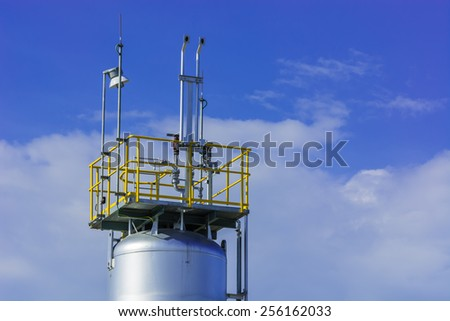 Chemical plant with equipment  vessel  cylinder - stock photo