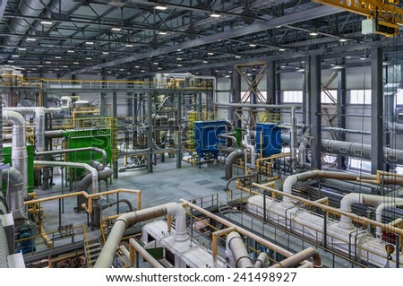 Chemical production of polymers - stock photo