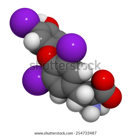 Chemical structure of a molecule of triiodothyronine. triiodothyronine (t3, liothyronine) is a thyroid gland hormone that plays a role in energy metabolism regulation. - stock photo