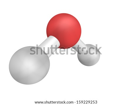 Chemical structure of a water molecule, H2O (realistic look) - stock photo