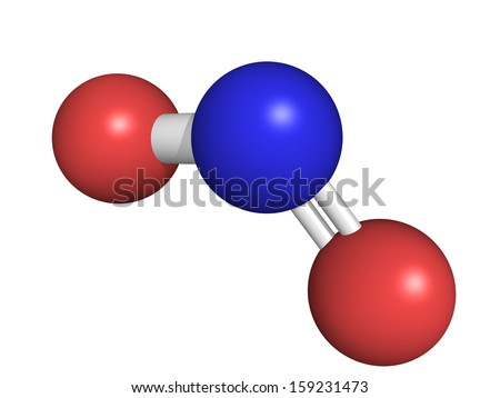 Chemical structure of nitrogen dioxide (NO2, NOx) toxic gas and air pollutant,  - stock photo