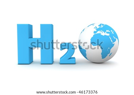 chemical symbol H2O for hydrogen oxide in light blue - a globe is replacing the letter o - stock photo
