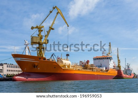 Chemical tanker in the port of Gdansk - stock photo