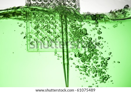 Chemical Test Tube . Chemical experiment with Laboratory glass - stock photo