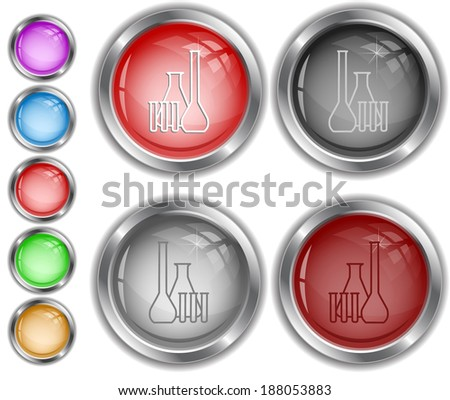 Chemical test tubes. Raster internet buttons.  - stock photo