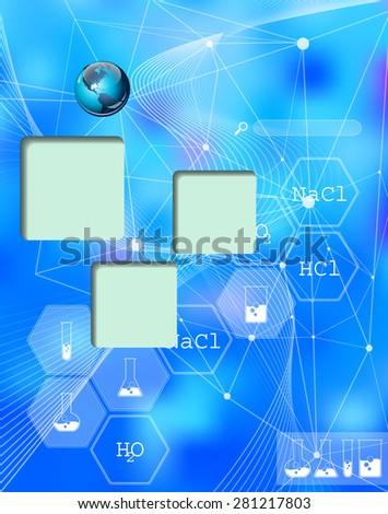 Chemical. Web and mobile interface infographic template. Flat corporate website design. Multifunctional media background. Editable. Options, Icon, Banner. Chemistry and science concept. - stock photo