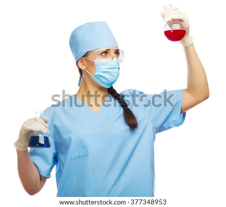 Chemist with test tubes isolated - stock photo