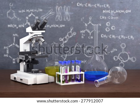 Chemistry laboratory concept. Laboratory chemical test tubes and - stock photo